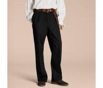 Hose aus englischer Moleskin-Wolle mit weiter Beinpartie