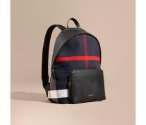 Rucksack aus Canvas Check-Gewebe mit Lederbesatz