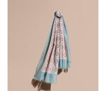 Schal aus Baumwollseide mit Pyjamamuster