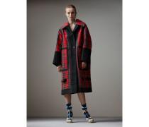 Oversize-Kurzmantel aus gebondeter Baumwolle mit Schottenmuster