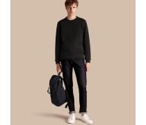 Jersey-Sweatshirt aus einer Baumwollmischung mit Streifenapplikation im Armeestil