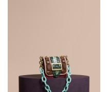 The Mini Square Buckle Bag aus Samt und Natternleder mit floralem Druckmotiv