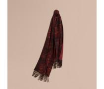 Extragroßer Schal aus Jacquard-gewebtem Kaschmir mit Pfingstrosenmuster