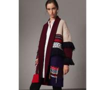 Cardigan-Mantel im Patchworkdesign aus Wolle und Kaschmir mit Fransen
