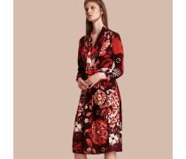 Seidenkleid mit floralem Druckmotiv
