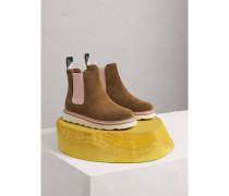 Chelsea-Stiefel aus Veloursleder in Zweitonoptik