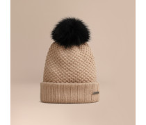 Beanie-Mütze aus Wolle und Kaschmir mit Pelzbommel
