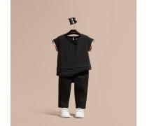 T-shirt Aus Baumwolle Mit Check-besatz