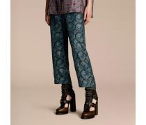 Hose Aus Seidentwill Im Pyjamastil Mit Kürzerer Beinpartie Und Geometrischem Muster