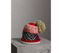 Beanie aus Wolle und Kaschmir im Patchworkdesign mit Bommel