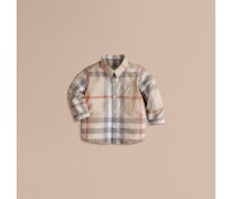 Baumwolloberteil mit verwaschenem Check-Muster