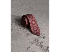 Schmal geschnittene Krawatte aus Seidenjacquard mit floralem Kacheldesign
