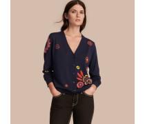 Cardigan aus Merinowolle mit floralem Muster