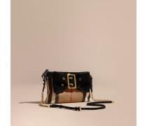 Clutch aus House Check-Gewebe mit Schleife aus Veloursleder und Schnalle
