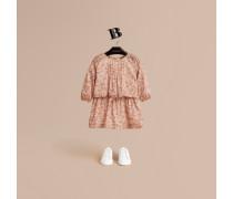 Baumwollkleid mit floralem Muster und Biesendetail