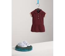 Poloshirtkleid aus Baumwollpiqué mit Karodetail