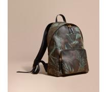 Rucksack aus London Check-Gewebe mit Lederbesatz und floralem Motiv