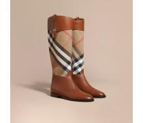 Stiefel im Reiterstil aus House Check-Gewebe und Leder