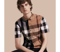 Kurzärmeliges Baumwollhemd im Colour-Blocking-Design mit Check-Muster