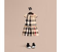 Kleid aus Baumwoll-Voile mit Karomuster und Flügelärmeln