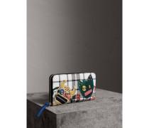Brieftasche aus Leder im Karodesign mit witziger Applikation