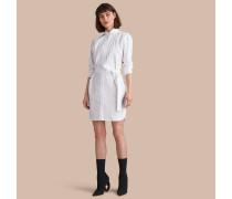 Hemdkleid aus Baumwollpopelin mit Bindegürtel und Kläppchenkragen