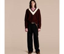 Pullover aus Wolle mit sportlichem Streifen und Patentstrickmuster