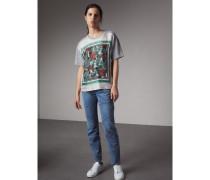 T-Shirt aus Baumwolle mit Seidenpanel mit  Beasts-Aufdruck