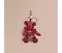 Teddybär-Anhänger aus Kaschmir mit Check-Muster