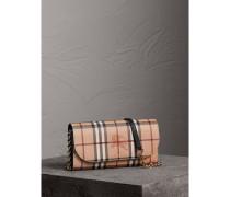 Brieftasche aus Haymarket Check-Gewebe mit Lederbesatz und Kette