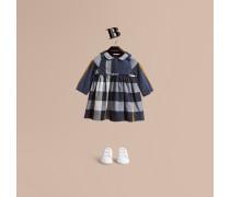 Langärmeliges Baumwollkleid mit Karomuster und Biesendetail