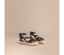 Espadrille-Sandalen aus Leder und House Check-Gewebe
