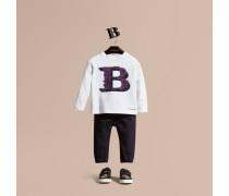 Langärmeliges T-shirt Aus Baumwolle Mit Dekorativem Buchstabenmotiv