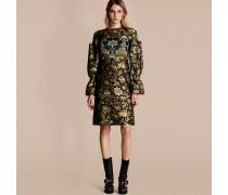 Kleid Aus Fil Coupé-gewebe Mit Pailletten Und Floralem Muster