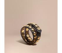Zweifach gewickeltes Armband aus Leder in Zaumzeug-Optik mit Ziernieten