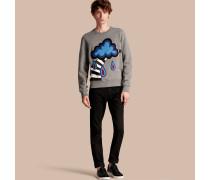 Sweatshirt aus Baumwolljersey mit Wettermotivapplikation