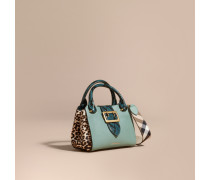The Small Buckle Tote aus Leder und Kalbfell mit Leopardenmuster