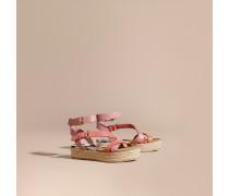 Espadrille-Sandalen aus Leder in Zweitonoptik