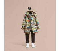 Trenchcoat aus Baumwolle mit Kapuze und Kunstdruckmotiv