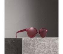Sonnenbrille mit rundem Halbrandgestell und Karodetail