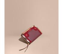 Brieftasche aus House Check-Gewebe mit Natternlederbesatz und umlaufendem Reißverschluss