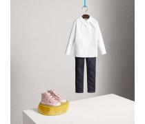 Bluse aus Stretchbaumwolle mit Peter-Pan-Kragen
