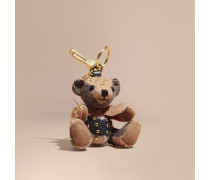 Teddybär-Anhänger aus Kaschmir mit Karomuster und Ziernieten