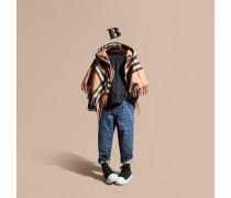 Cape aus Wolle und Kaschmir mit Check-Muster und Kapuze