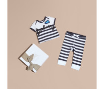 Zweiteiliges Baby-Geschenkset aus Baumwolle mit Streifenmuster und Applikation