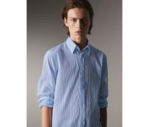 Gestreiftes Hemd aus Seersucker-Stretchbaumwolle