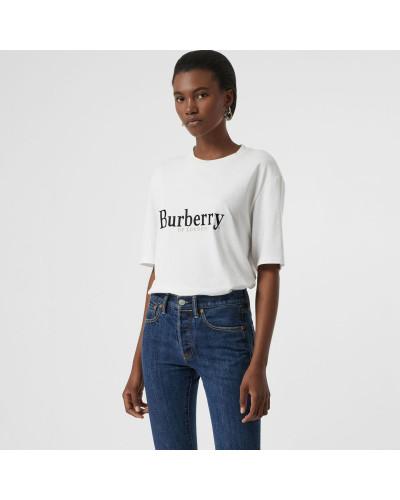 Baumwoll-T-Shirt mit aufgesticktem Vintage-Logo