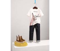 T-Shirt aus Baumwolle mit London-Motiv und Schmucksteinbesatz