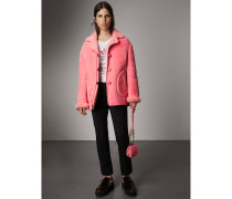 Oversize-Jacke aus Lammfell mit Lederbesatz