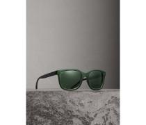 Sonnenbrille mit eckigem Gestell und geprägtem Karodetail